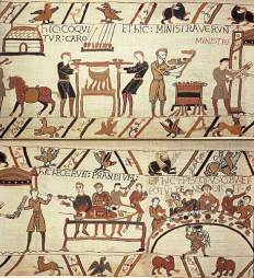 Cooking and feasting - The Bayeux Tapestry, circa 1070, England