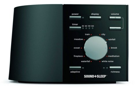 This particular machine plays variations on one of nine different soothing nature sounds either continuously or up to two hours on a timer.  It also has a special sensor that causes the machine's volume to turn up the instant it detects ambient noise within the sleeping environment (Sleep+Sound by Ecotones).
