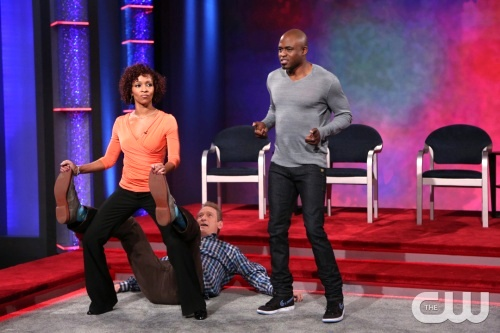 (L-R): Nyima Funk, Colin Mochrie, and Wayne Brady from the TV show Whose Line is it Anyway?