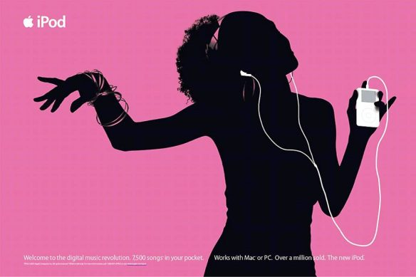One of the iconic ads for the first generation of Apple iPods.