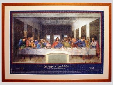 Framed puzzle of Leonardo da Vinci's Last Supper.
