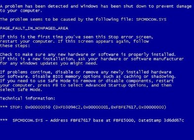 The dreaded blue screen of death.