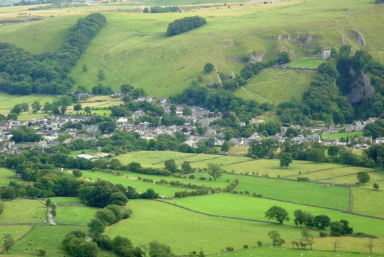 Peveril Castle (top left corner), from the nearby mountains.