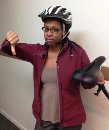 Me just back from the sports shop, with the offending bike saddle.
