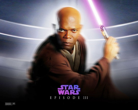 Samuel L. Jackson as Mace Windu, the first black Jedi.