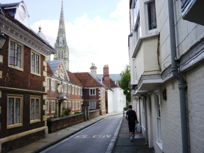 From my 2011 trip to England: an impromptu journey to Salisbury to see the famous cathedral (pictured in the background).