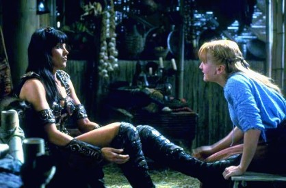 "Xena and Gabrielle converse for the first time in ""Sins of the Past"" (season one, episode 1)."
