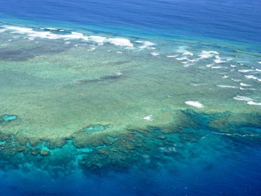 A portion of the Great Barrier Reef from a helicopter overhead, Queensland, Australia.
