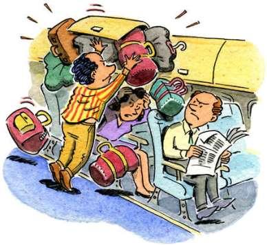 Overhead compartment cartoon