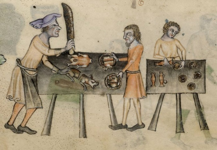 Kitchen Scene From The Luttrell Psalter C1320 40
