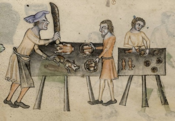 Kitchen scene from the Luttrell Psalter (c.1320-40)