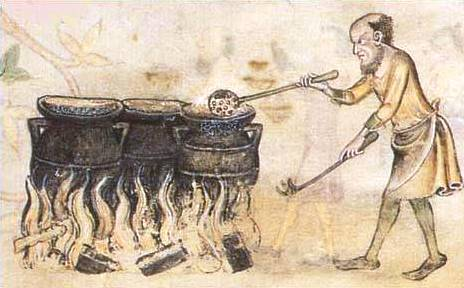Cooking scene from the Luttrell Psalter (c.1320-1340)