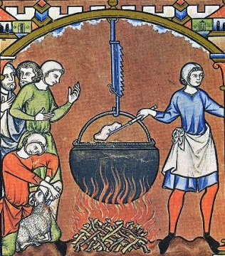 Cooking scene from the Maciejowski Bible (c. 1240-1250, France)