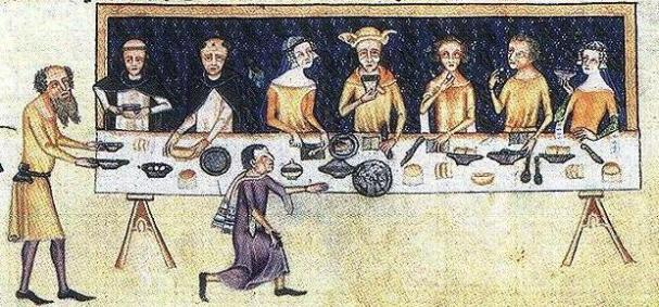 Dinner scene from the Luttrell Psalter (c.1320-1340, Lincolnshire, England)