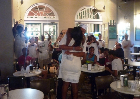 This couple got engaged at the cafe where I ate my beignets. I wish them a happy and prosperous future.
