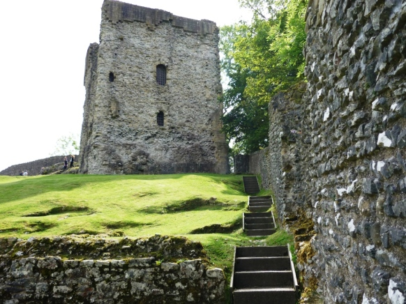 Remnants of the keep and curtain wall of Peveril Castle in Derbyshire, England