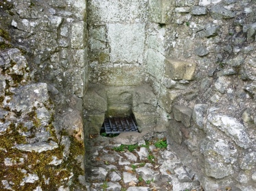 Remnants of a garderobe at Peveril Castle