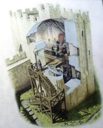Artist's rendition of the interior of Peveril Castle's keep