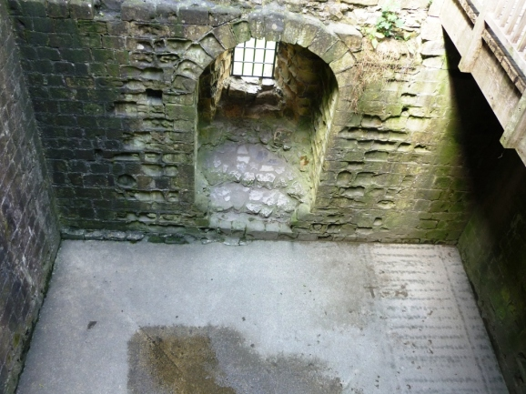 Remnants of Peveril Castle's keep: the basement as viewed from the upper level