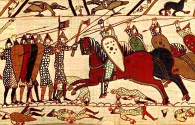 The Bayeux Tapestry (circa 1070, England) depicting the Battle of Hastings
