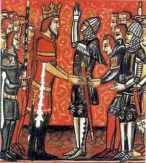 Roland pledging fealty to Charlemagne