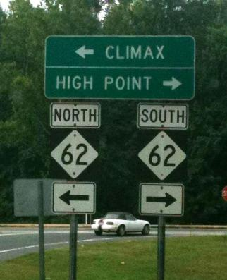 Climax road sign