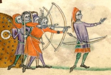 Archery practice from the Luttrell Psalter (c.1320-1340, Lincolnshire, England)