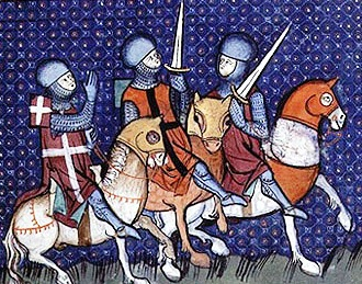 """Medieval knights paying a portion of their """"knight's fees"""""""