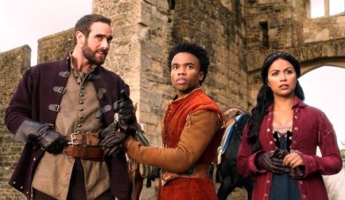 Cast of Galavant: Galavant (L), Sid (center), and Isabella (R)