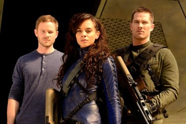 Killjoys main characters: John (L), Dutch (center), and D'avin (R)