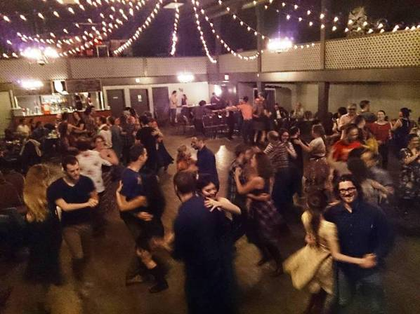 The scene at a recent square dance in Vancouver, BC.