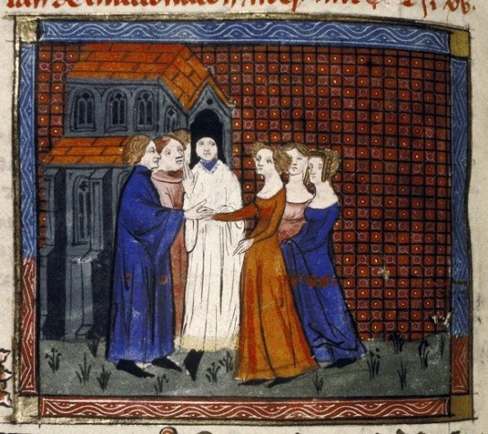 Medieval wedding ceremony (note the location and the bride's dress)
