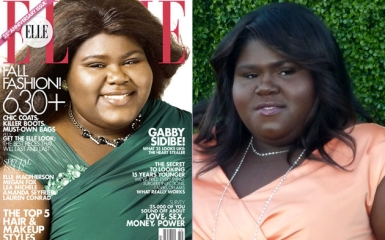 Actress Gabourey Sibide on the cover of Elle magazine and in real life