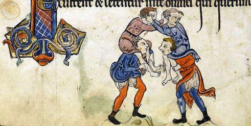 Medieval piggyback wrestling
