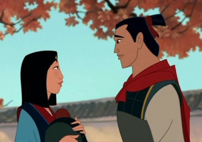 Mulan and Shang from the cartoon version of Mulan