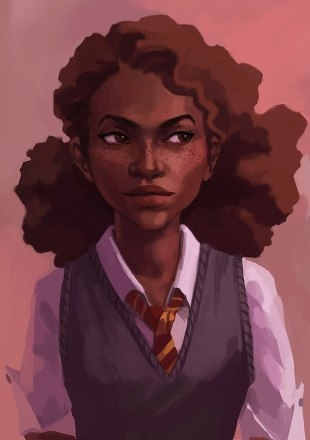 Fan art of a racebent Hermione Granger