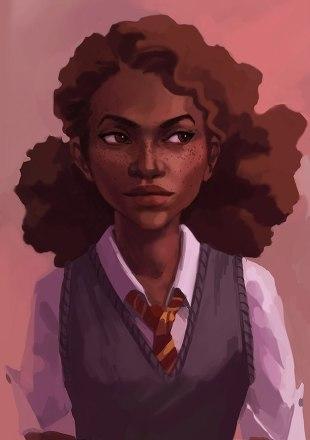 Fan art of a racebent Hermione Granger