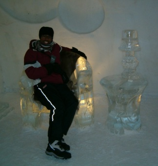 Me at the Hôtel de Glace, Quebec City, 2008