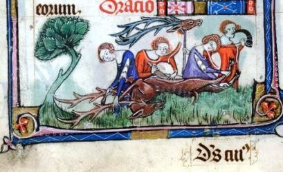 Medieval women killing a stag