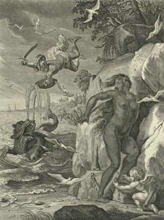 Perseus and Andromeda print by Bernard Picart print (1731) after Abraham van Diepenbeeck (1655), showing Andromeda as noticeably dark-skinned